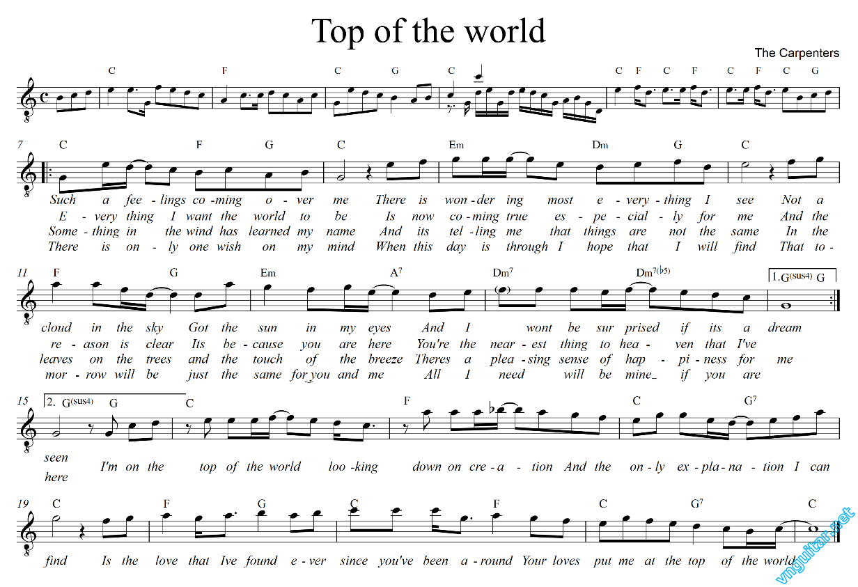 Top of the world – The Carpenters (lời dịch)